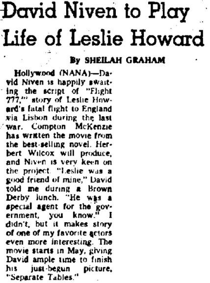 David Niven to Play Life of Leslie Howard