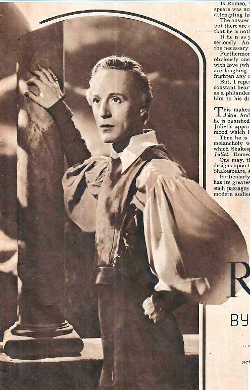 Leslie Howard in Romeo, from Picturegoer's supplement