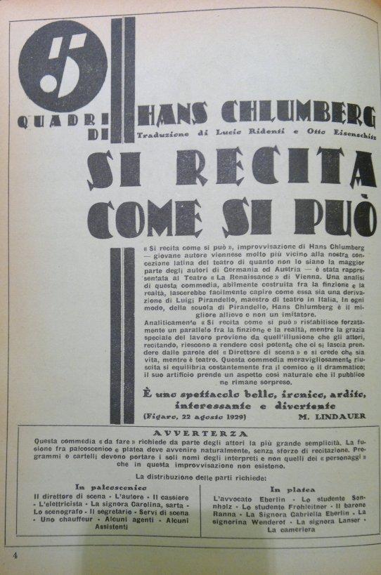 Si recita come si può - Il Dramma, 1929