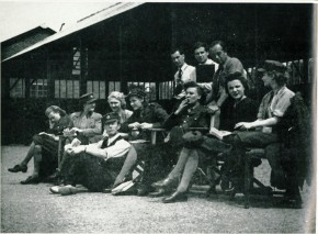 Filming The Gentle Sex on location. Adrian Brunel, in the back row; seated on ground, Leslie Howard