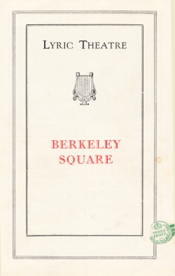 Berkeley Square London 1929 Programme