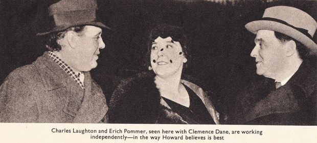 Charles Laughton, Clemence Dane and Erich Pommer