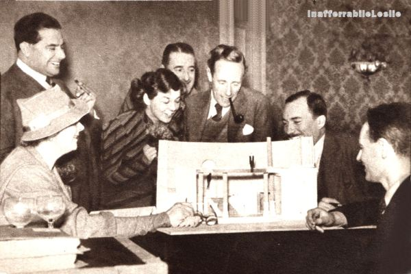Leslie Howard with a model set of Pygmalion