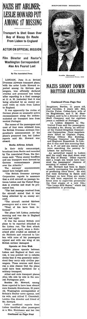 New York Times, June 3rd, 1943