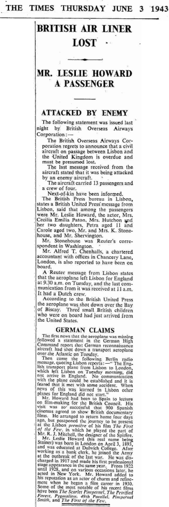 The Times, June 3rd, 1943