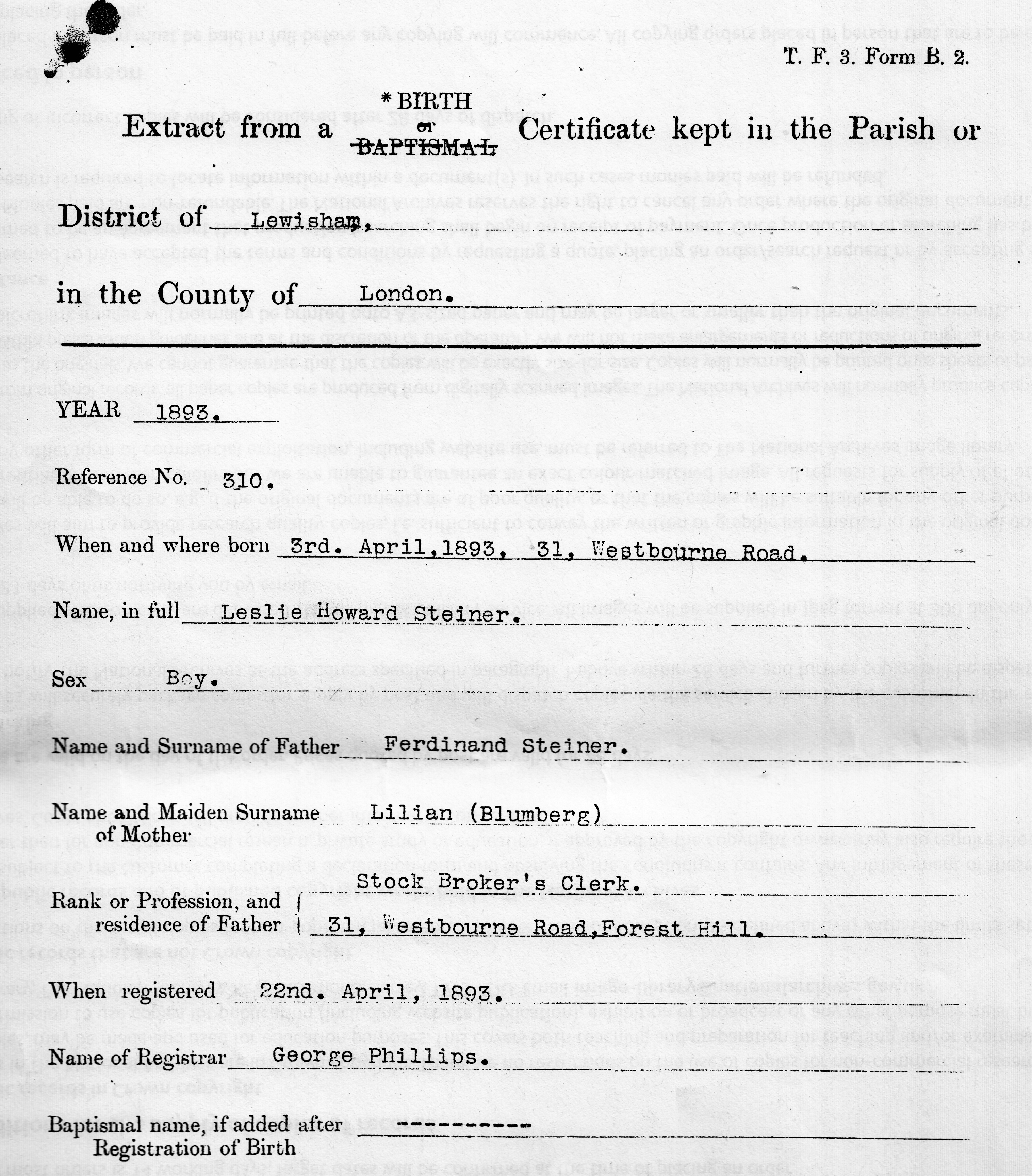 Documents inafferrabile leslie howard 1893 leslie howard steiner extract from a birth certificate aiddatafo Choice Image