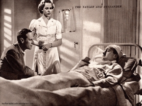 """David Niven co-stars with Howard as """"Crisp,"""" Mitchell's test pilot. Crisp is a composite character representing two or three well-known test pilots who put the products of Mitchell's brain and drawing-board to test in the air. In the Battle of Britain prologue to the picture, Crisp appears as a Wing-Commander of the R.A.F. Fighter Command. Here Crisp is seen in an American hospital after crashing in a Schneider Trophy plane. Mitchell (Leslie Howard) has come to see him, but their conversation is interrupted by Nurse Kennedy (played by Miss Leslie Howard)"""